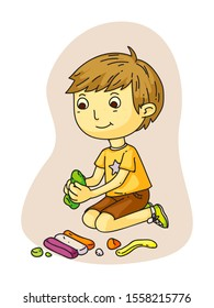 Cartoon cute smiling little preschooler boy sitting on floor and making figures from plasticine. Kids creativity and hobbies, education and development. Playdough modeling. Vector flat illustration