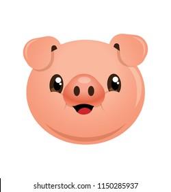 Cartoon cute smiling pig head cartoon character. - Vector mascot