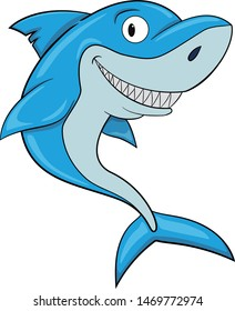 cartoon cute smiling shark vector image