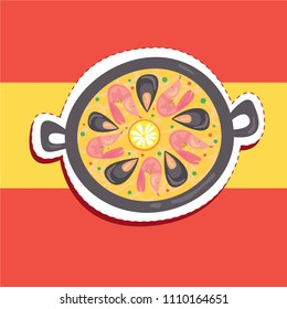 Cartoon cute spanish paella dish with rice and seafood top view sticker patch badge design illustration with spain flag