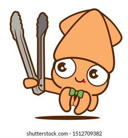 Cartoon cute squid with bowtie holding a grill tongs, vector mascot character. Korean BBQ grill squid character mascot. - vector