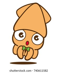 Cartoon cute squid with bowtie, vector mascot character. Isolated.
