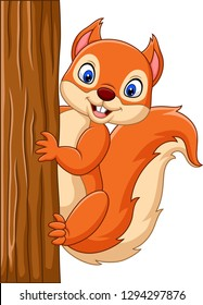 Cartoon cute squirrel climbing on a tree