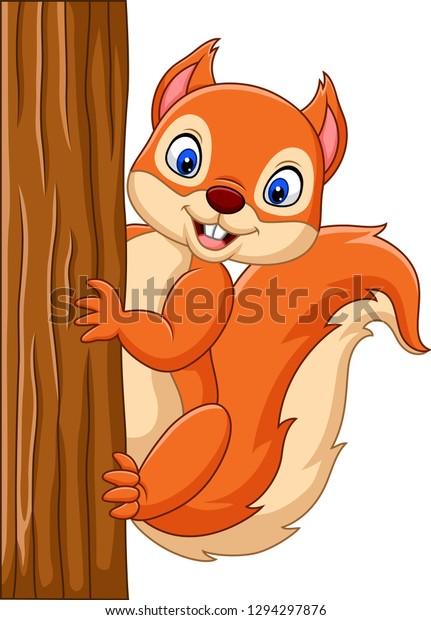 cartoonsüßes eichhörnchen das auf einem baum stock
