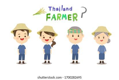 Cartoon Cute Thai Farmer Vector