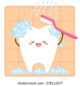 cartoon cute tooth brushing himself with a toothbrush