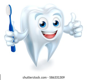 A cartoon cute tooth dental dentists mascot character holding a toothbrush and doing a thumbs up