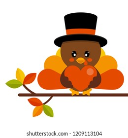 cartoon cute turkey in hat vector with heart on a branch