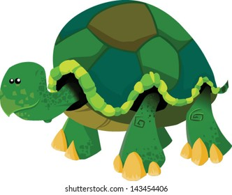 Cartoon cute turtle walking - Vector clip art illustration on white background