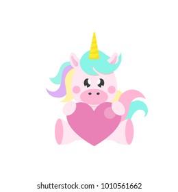 cartoon cute unicorn with heart