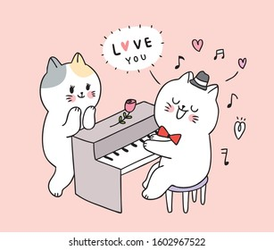 Cartoon cute Valentines day  cat playing piano and couple vector.