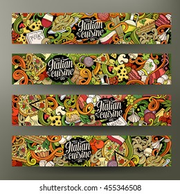 Cartoon cute vector hand drawn doodles italian food corporate identity. 4 horizontal colorful banners design. Templates set