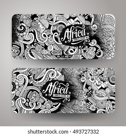 Cartoon cute vector hand drawn doodles Africa corporate identity. 2 horizontal banners design. Templates set