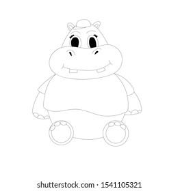Cartoon cute vector hippo in a  t-shirt and cap. Outline illustration.