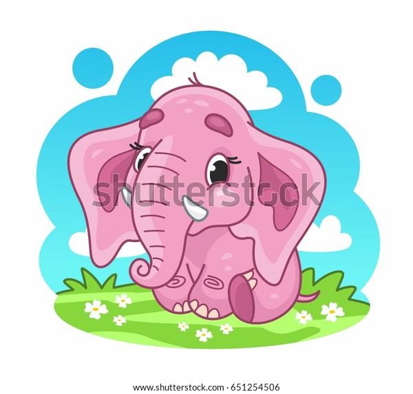 Cartoon cute vector pink elephant. Elephant baby. Vector illustration for kids