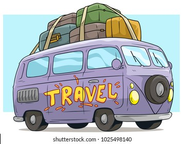 Cartoon cute violet retro van or bus with luggage on roof isolated on blue background. Vector icon.