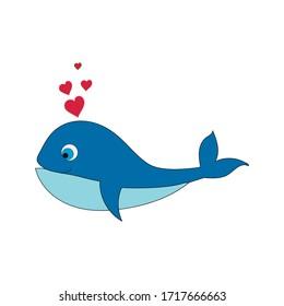 Cartoon cute whale with hearts