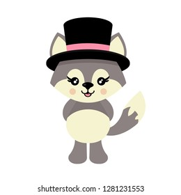cartoon cute wolf in hat vector
