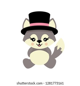 cartoon cute wolf sitting in hat vector