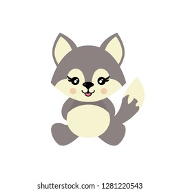 cartoon cute wolf sitting vector