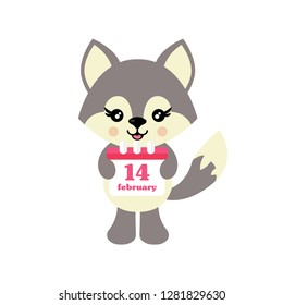 cartoon cute wolf vector and lovely calendar