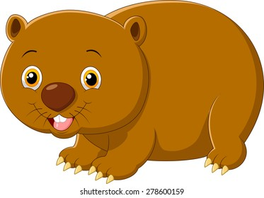 Cartoon cute wombat