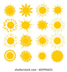 Cartoon Cute Yellow Sun Set Symbol of Warmth, Light and Summer Design Flat Style. Vector illustration