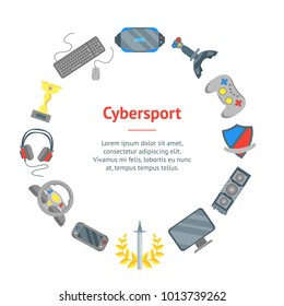 Cartoon Cyber Sport Banner Card Circle Cyberspace Leisure Concept Flat Style Design. Vector illustration