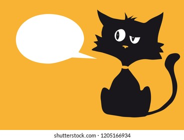 Cartoon cynical cat with one empty white bubble label for custom text, bright orange background