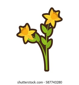 cartoon daffodil flower spring floral vector illustration eps 10