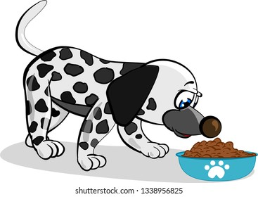 Cartoon dalmatian dog eating food from blue bowl with footstep on white background. Vector ilustration.