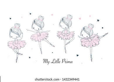 Cartoon dancing ballerina in a shiny skirt illustrations doodle set. Sketch line isolated design elements. Vector clipart. Use for print, surface design, fashion wear, baby shower