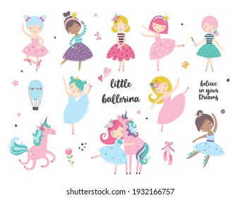 Cartoon dancing ballerina in a skirt illustrations doodle set, isolated design elements. Vector clipart. Use for print, surface design, fashion wear, baby shower, wrapping