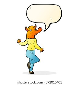 cartoon dancing fox woman with speech bubble