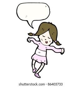 cartoon dancing girl with speech bubble