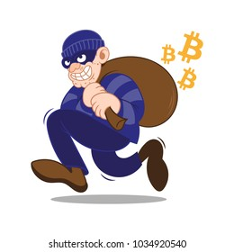 Cartoon dangerous criminal insidious cunning thief hacker dressed in dark mask running big bag stolen cryptocurrency bitcoin. Internet finance fraud. Modern vector style illustration flat design.