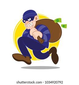 Cartoon dangerous criminal insidious cunning thief dressed in dark mask fast running big bag stolen more moneys and coins. Bank finance fraud. Modern vector style illustration flat design.