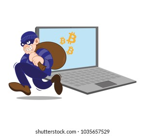 Cartoon dangerous criminal insidious thief hacker dressed in dark mask running big bag stolen cryptocurrency bitcoin with laptop. Internet finance fraud. Modern vector style illustration flat design.