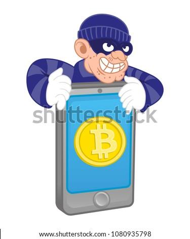 Cartoon Dangerous Criminal Thief Hacker Virus Stock Vector