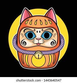 cartoon daruma doll cat version, cat doll, vector illustration