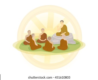 Cartoon : Day before the Buddhist Lent (Asalha Puja Day) and Wheel of life  (Dharmachakra ; Wheel of Dhamma) on white background. Vector Illustration