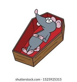 Cartoon Dead Rat in Coffin Vector Illustration