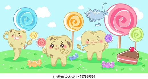 cartoon decay tooth problem with candy and bacterium