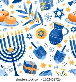 Cartoon decorative elements of Jewish holiday Hanukkah seamless pattern. Colorful Menorah candles, David star and flying dove vector flat illustration. Various object of Jewish festival of lights