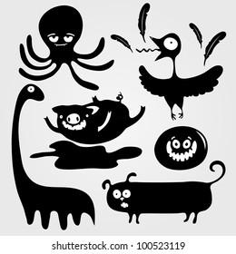 Cartoon decorative silhouettes of animals, vector illustration