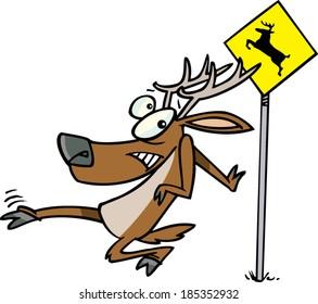 cartoon deer crossing the road