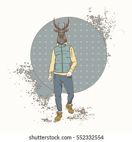Cartoon Deer Hipster Wear Fashion Clothes Retro Abstract Background Vector Illustration