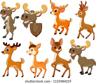 Cartoon deer and moose collection set