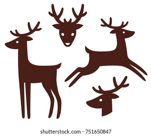 Cartoon deer silhouette set. Standing and jumping, head with antlers in front view and profile. Isolated vector illustration collection.