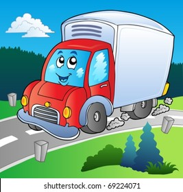 Cartoon delivery truck on road - vector illustration.